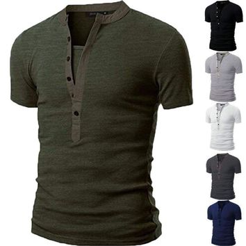 Fashion Men's Slim Fit V Neck Short Sleeve Muscle Tee T-shirt Casual Tops Shirts
