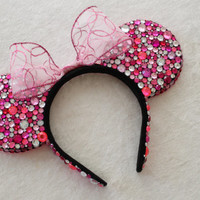 Pink & Clear Rhinestone Minnie Mouse Ears With Hot Pink Sequins - MADE TO ORDER