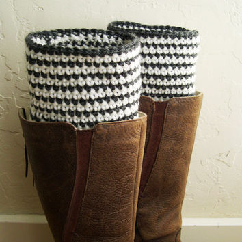 Striped Boot cuffs - Ivory Navy Blue Crochet Boot Toppers - Beige Marine Blue leg warmers - Striped legwarmers - Winter Fashion 2014