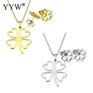 hot sale romantic style Stainless Steel Pendant Necklace With Earrings Four Leaf Clover Women Jewelry Set Star 2017 new arrival