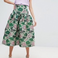 ASOS Prom Skirt with Deep Basque in Floral Jacquard at asos.com