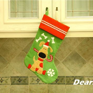 "18""Green Felt Dog Christmas Stocking"