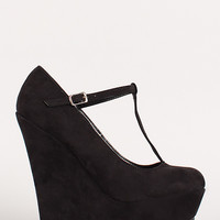 Round Toe Buckled Round Toe Platform Wedge