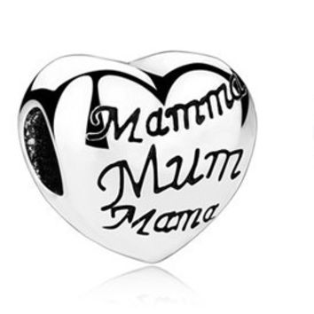Mother's heart Charm fit Pandora Bracelet