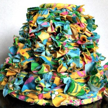 """Repurposed Lamp Shade, Knotted Lampshade, Bohemian, Shabby Chic, Upcycled, Fabric strips, 4""""x4"""""""