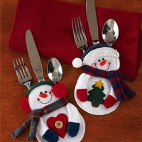 4pcs/2 set Cute Mini Christmas Snowman Tableware Non-Woven Fabrics Bag Home Decor GOJ = 1946116676