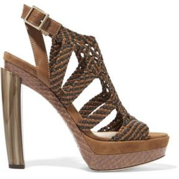Woven leather, suede and elaphe sandals | JIMMY CHOO | Sale up to 70% off | THE OUTNET