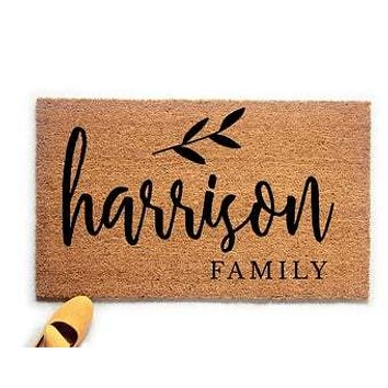 Personalized Family Name with Leaf Doormat