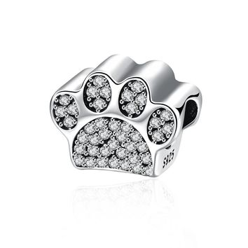 Sterling Silver CZ  Pave Paw Doggie Animal Charm