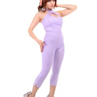 COLLECTIF MAINLINE PENNY GLITTER JUMPSUIT