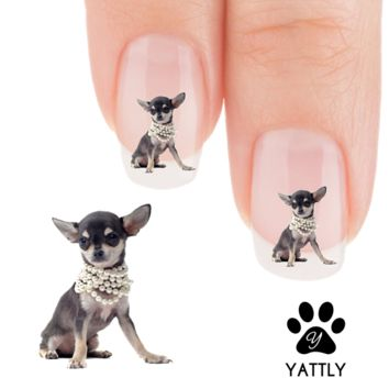 "Chihuahua ""Princess in Pearls"" Nail Art Decals ( NOW 50% MORE FREE)"