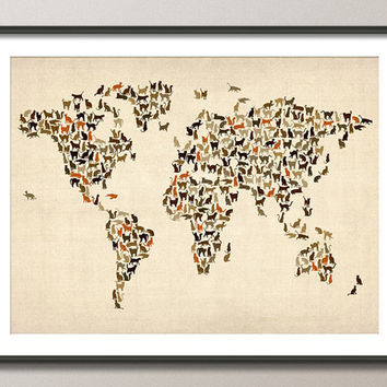 Cats Map of the World Map Art Print by artPause on Etsy