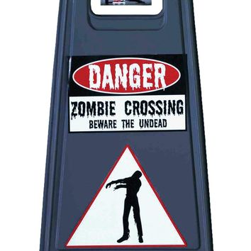 Beware Of Zombie Sign & Tape Halloween props mask Costumes