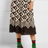 Gucci - Pleated printed silk crepe de chine midi skirt