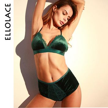 Ellolace Winter Velvet Underwear Set Lace Eyelash Push Up Bras Women Lingerie Set Smooth Velvet High Waist Panties and Bra Set