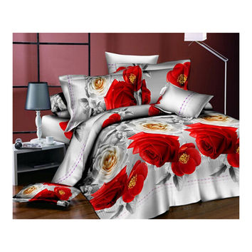 3D Flower Queen King Size Bed Quilt/Duvet Sheet Cover 4PC Set Cotton Sanded 009