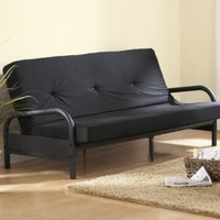Ameriwood Basic?Metal Futon with Mattress in Black