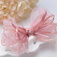 Hair Bow Barrette Ribbon