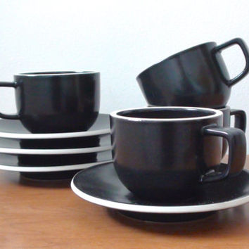 Vintage Vignelli Sasaki Colorstone Cups and Saucers in Matte Black -- Set of 4