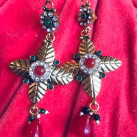 Gorgeous Mogul Carnelian Red & Green glass beads with Exotic Leaf Like Goldtone Statement Dangle Earrings