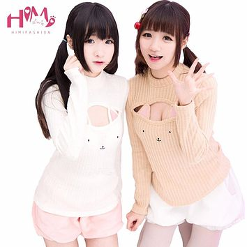 Harajuku Cat Knitted Sweater Lolita Cute Cat Pierced Shirt Women Blouse Winter Pink Sexy Hooded Woolen Warm Sweaters For Girls