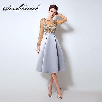 Champagne Cocktail Dresses with Long Sleeves hot Knee Length Short Satin Vestidos Plus Size Sexy Women Party Evening Gown LX015