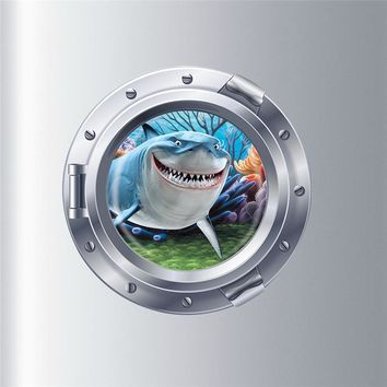 submarine porthole wall stickers fantastic finding nemo decoration coral shark fish scuttle animal home decals kid mural art 4.5