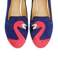 Women's Suede Slippers - Flamingo Suede Smoking Slipper | C. Wonder