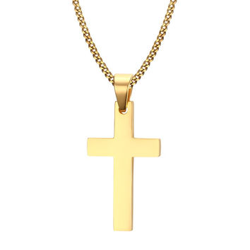 Meaeguet Cross Necklaces&Pendants For Men Stainless Steel 18K Gold Plated Male Pendant Necklaces Prayer Jewelry