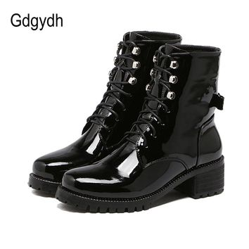 Gdgydh Fashion Rhinestone Riding Ankle Boots For Women 2017 Spring Autumn Lace-up Soft Leather Women Shoes Heels Butterfly-knot