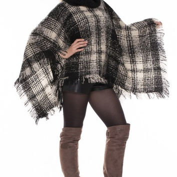 Plaid Turtle Neck Poncho With Fringe in 2 Different Styles