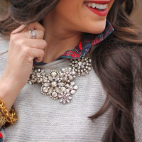 Rhinestone Snow Flower Crystal  Statement Necklace Lifestyle 1