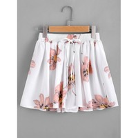 Floral Print Drawstring Skirt Shorts