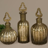 Kaho Antique Silver Perfume Bottles S/3 By Uttermost