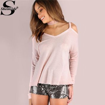Sheinside Pink Waffle Knit Basic T-shirts Strap Cold Shoulder Dolman Sleeve Autumn Tops 2017 Women Sexy Cut Casual Cute T-shirt