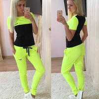 Nike Fashion Short-sleeved T-shirt Pants Sweatpants Set Two-Piece Sportswear