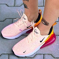 Nike Air Max 270 Women Casual Air Cushion Sport Running Shoes Sneakers Pink&Orange&Rose Red