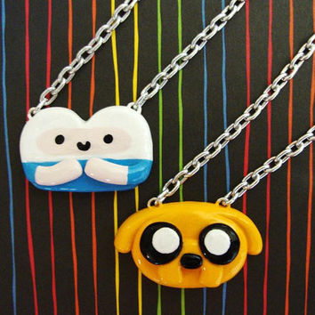 Adventure Time  Necklaces  Finn and Jake BFF Set by happycrafties