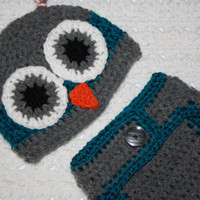 Owl Hat and Diaper cover set. Gray and Teal
