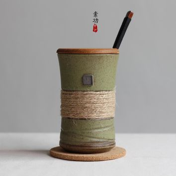 Japanese style vintage bands individuality brief ceramic mug cup belt with cover and spoon coffee cup gift cup
