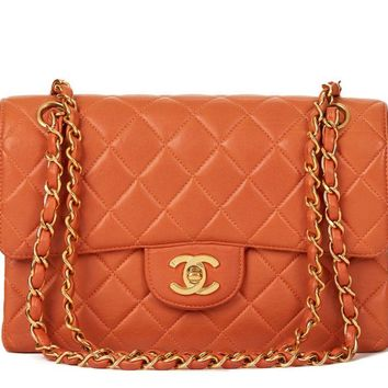 CHANEL BURNT ORANGE QUILTED LAMBSKIN DOUBLE SIDED SMALL CLASSIC FLAP BAG HB624