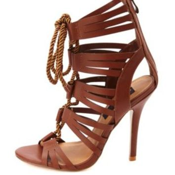 HeartSoul Rope Lace-Up Caged High Heels from Charlotte Russe