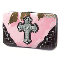 Pink Wallet with Rhinestone Embelished Cross