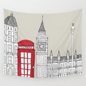 London Red Telephone Box Wall Tapestry by Bluebutton Studio