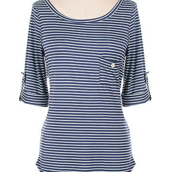 Navy Fitted Stripe Jersey Top