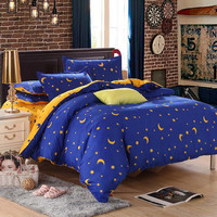 star moon bedding sets 3pcs/4pcs twin queen king stripe duvet cover set bedlinen bedclothes kids teens children boys girls #2