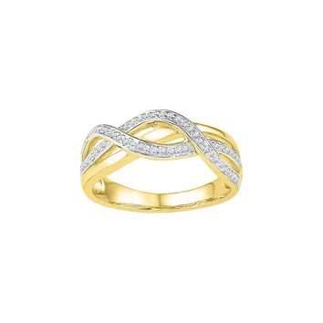 10kt Yellow Gold Womens Round Diamond Woven Fashion Band Ring 1/5 Cttw