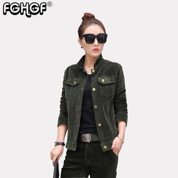 high quality Spring Jacket Coat Casual Corduroy turn-down collar Autumn Jacket Women Military Slim Coats Jackets 2018 New 3827