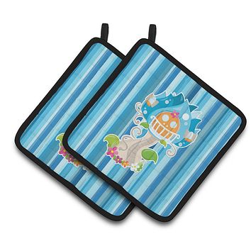 Fairy House Blue Stripes Pair of Pot Holders BB6914PTHD