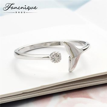 Fancnique 925 sterling silver Zircon Mermaid Whale Tail Ring